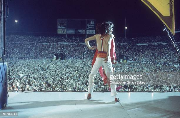 Singer Mick Jagger dancing on stage during the Rolling Stones' 1975 Tour of the Americas
