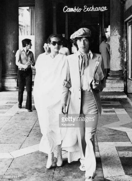 Singer Mick Jagger of the Rolling Stones and his wife Bianca on their honeymoon in Venice 2nd June 1971