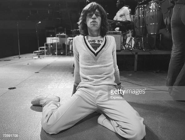 Singer Mick Jagger of the Rolling Stones at rehearsals for a British concert 1975
