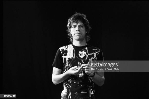 Singer Mick Jagger of The Rolling Stones poses for a portrait during a rehearsal at SIR Studios on June 30 1981 in New York City New York