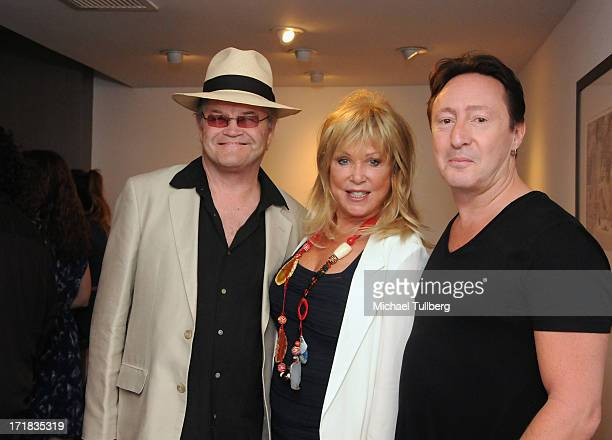 Singer Mickey Dolenz photographer Pattie Boyd and singer Julian Lennon attend an exhibition of Boyd's photographs entitled 'Pattie Boyd Newly...