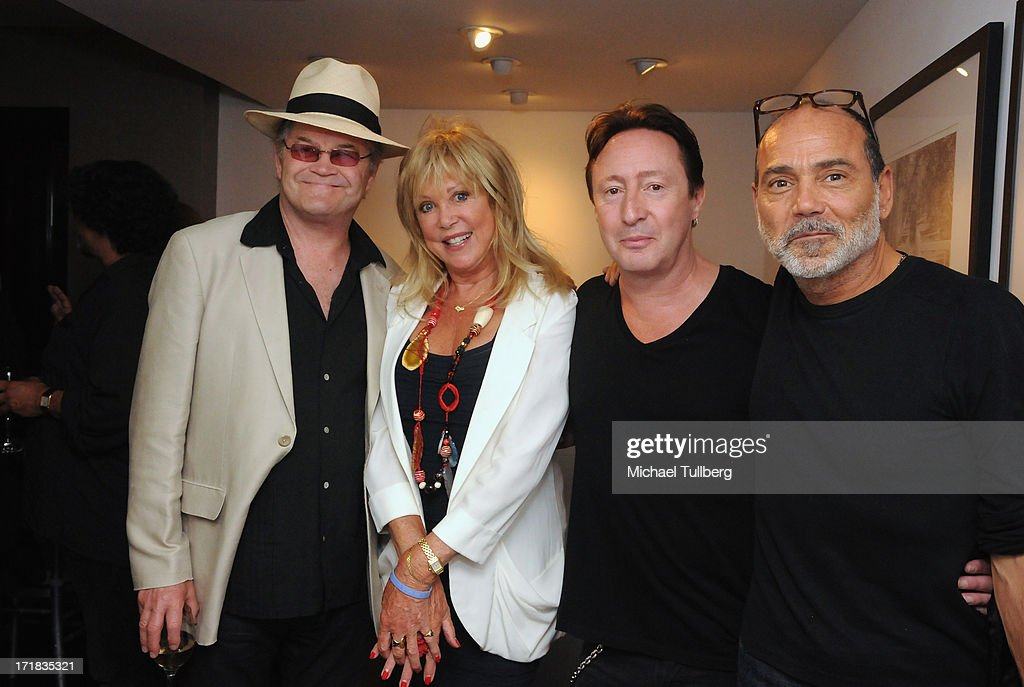 Singer Mickey Dolenz, photographer <a gi-track='captionPersonalityLinkClicked' href=/galleries/search?phrase=Pattie+Boyd&family=editorial&specificpeople=224054 ng-click='$event.stopPropagation()'>Pattie Boyd</a>, singer <a gi-track='captionPersonalityLinkClicked' href=/galleries/search?phrase=Julian+Lennon&family=editorial&specificpeople=211480 ng-click='$event.stopPropagation()'>Julian Lennon</a> and gallery curator Peter Blakely attend an exhibition of Boyd's photographs entitled '<a gi-track='captionPersonalityLinkClicked' href=/galleries/search?phrase=Pattie+Boyd&family=editorial&specificpeople=224054 ng-click='$event.stopPropagation()'>Pattie Boyd</a>: Newly Discovered' at Morrison Hotel Gallery on June 28, 2013 in West Hollywood, California.