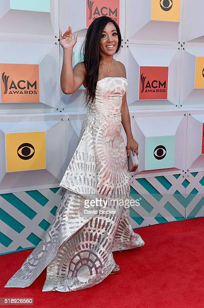 Singer Mickey Guyton attends the 51st Academy of Country Music Awards at MGM Grand Garden Arena on April 3 2016 in Las Vegas Nevada