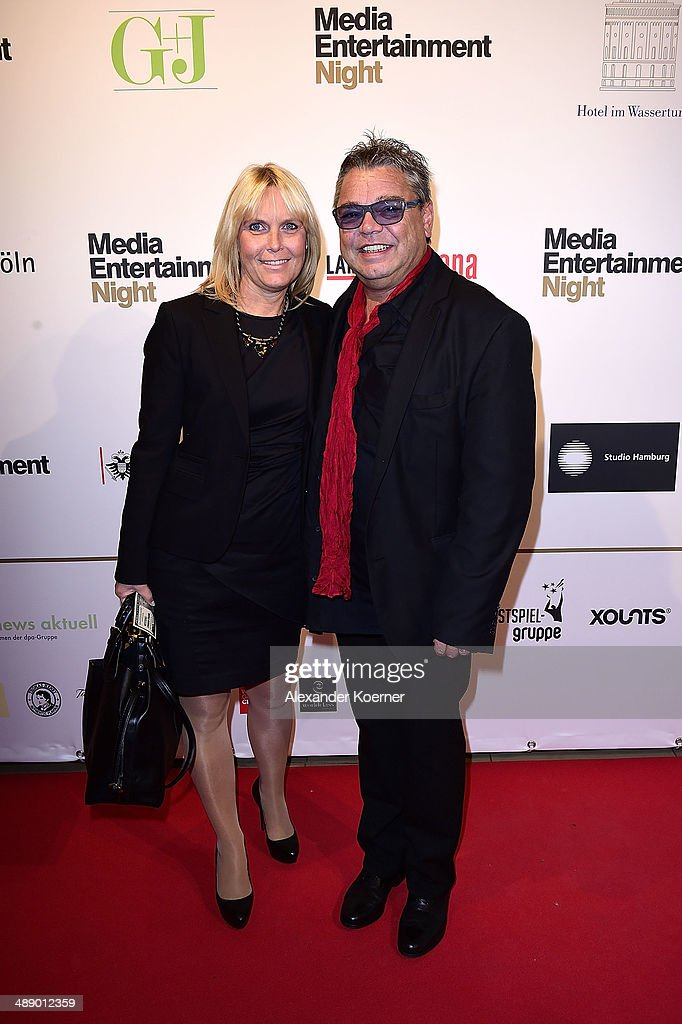 Singer Micky Bruehl (r) and his Girlfriend Claudia Becker attend the Media Entertainment Night at Hotel im Wasserturm on May 9, 2014 in Cologne, Germany.