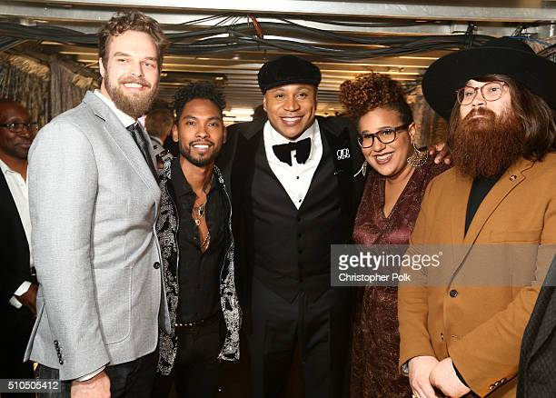 Singer Miguel and host LL Cool J and singer pose with musicians Steve Johnson Brittany Howard and Zac Cockrell of Alabama Shakes attend The 58th...