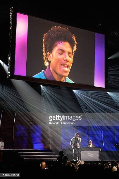 Singer Miguel and musician Greg Phillinganes perform onstage during The 58th GRAMMY Awards at Staples Center on February 15 2016 in Los Angeles...