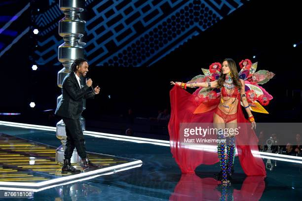 Singer Miguel and Victoria's Secret Angel Alessandra Ambrosio perform on the runway during the 2017 Victoria's Secret Fashion Show In Shanghai at...