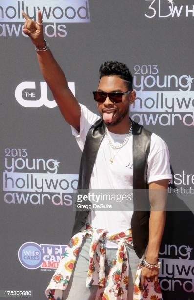 Singer Miguel arrives at the 15th Annual Young Hollywood Awards at The Broad Stage on August 1 2013 in Santa Monica California