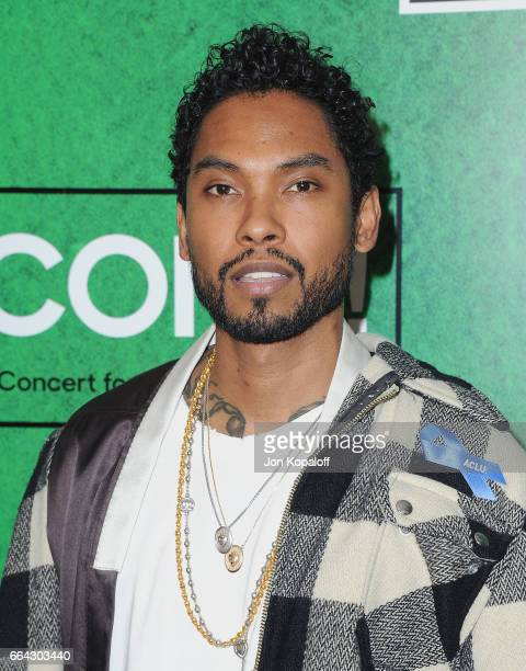 Singer Miguel arrives at Zedd Presents WELCOME Fundraising Concert Benefiting The ACLU at Staples Center on April 3 2017 in Los Angeles California