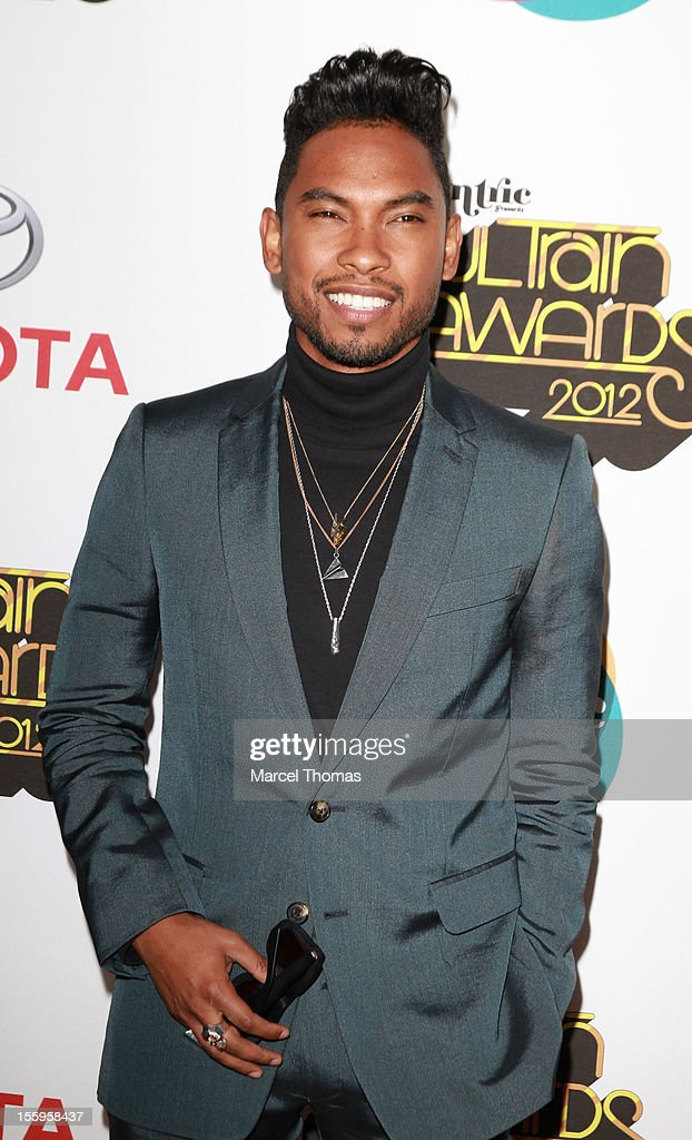 Singer <a gi-track='captionPersonalityLinkClicked' href=/galleries/search?phrase=Miguel+-+Singer&family=editorial&specificpeople=8842866 ng-click='$event.stopPropagation()'>Miguel</a> attends the Soul Train Awards 2012 at PH Live at Planet Hollywood Resort and Casino on November 8, 2012 in Las Vegas, Nevada.