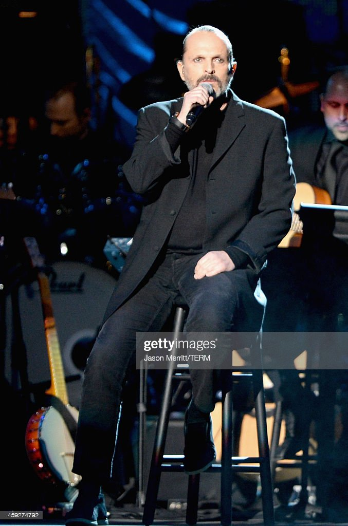Singer Miguel Bose performs onstage during the 2014 Person of the Year honoring Joan Manuel Serrat at the Mandalay Bay Events Center on November 19...