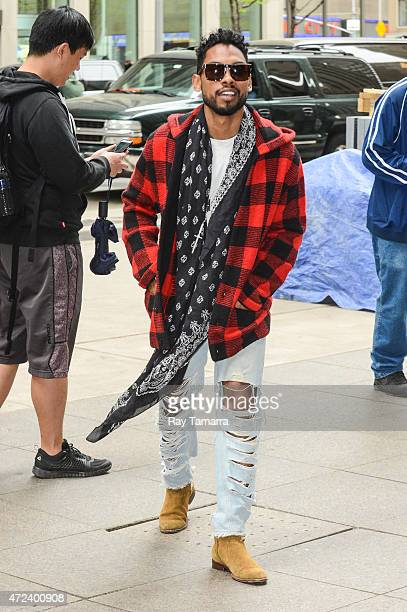 Singer Miguel Jontel Pimentel enters the Sirius XM Studios on May 6 2015 in New York City