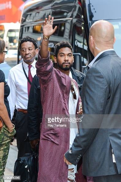 Singer Miguel Jontel Pimentel leaves the 'Good Morning America' taping at the ABC Times Square Studios on June 30 2015 in New York City