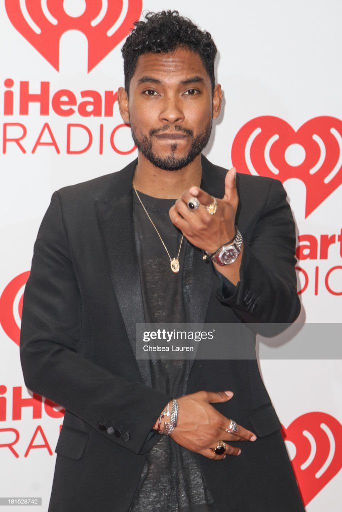 Singer <a gi-track='captionPersonalityLinkClicked' href=/galleries/search?phrase=Miguel+-+Singer&family=editorial&specificpeople=8842866 ng-click='$event.stopPropagation()'>Miguel</a> poses in the iHeartRadio music festival photo room on September 21, 2013 in Las Vegas, Nevada.