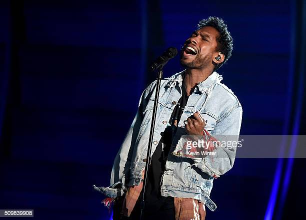 Singer Miguel rehearses onstage during The 58th GRAMMY Awards at Staples Center on February 12 2016 in Los Angeles California
