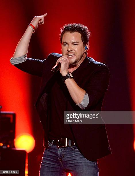 Singer Mike Eli of the Eli Young Band performs onstage during ACM Presents An AllStar Salute To The Troops at the MGM Grand Garden Arena on April 7...