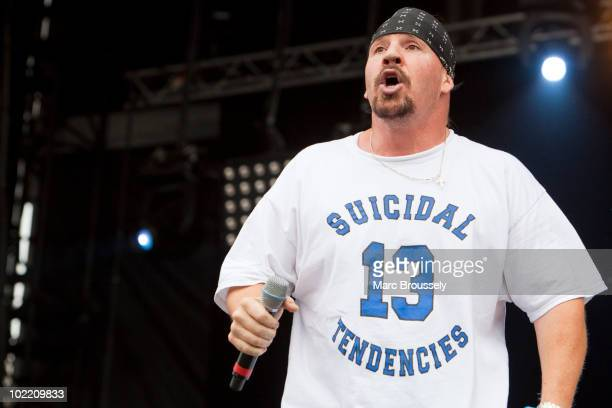 Singer Mike Muir of Infectious Grooves performing on stage at Hellfest Festival on June 18 2010 in Clisson France