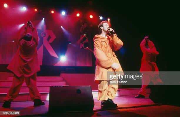 Singer Mikey Graham performing with Irish boy band Boyzone at the Hammersmith Apollo London 1995