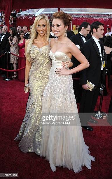 Singer Miley Cyrus and her mother Tish Cyrus arrive at the 82nd Annual Academy Awards held at Kodak Theatre on March 7 2010 in Hollywood California