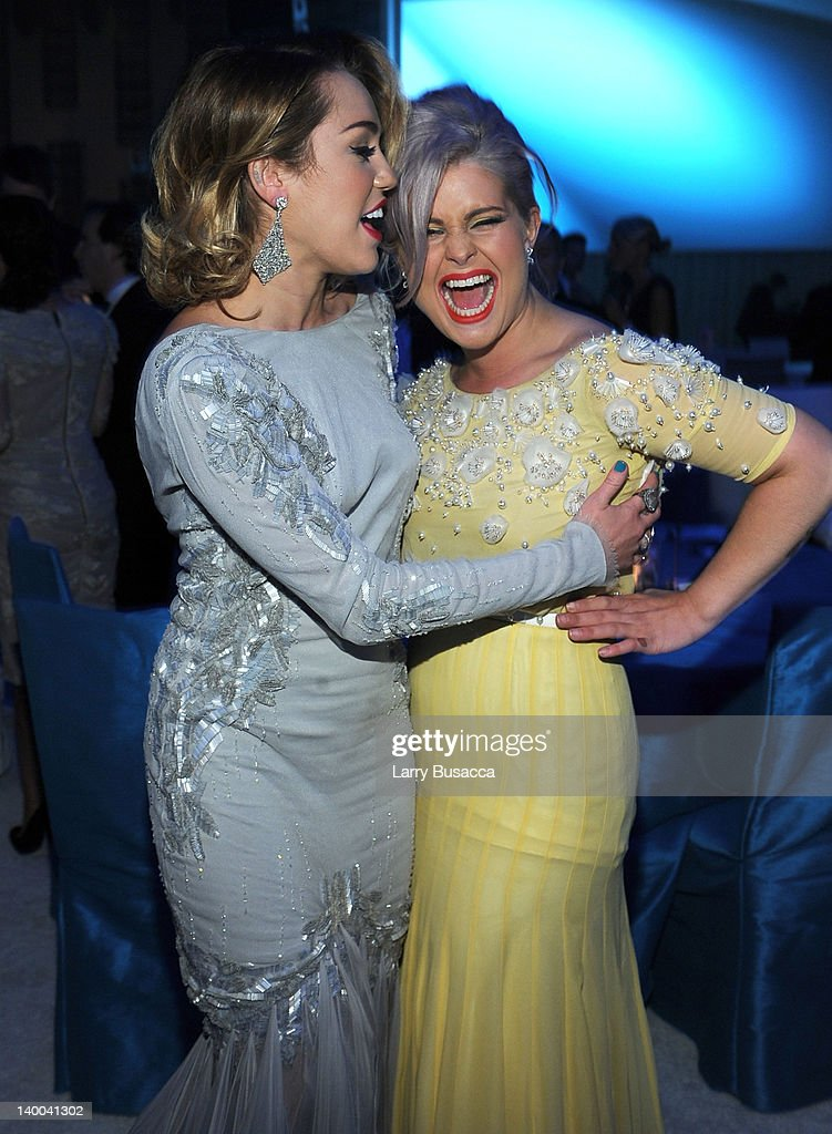 Singer Miley Cyrus and tv personality Kelly Osbourne attend the 20th Annual Elton John AIDS Foundation Academy Awards Viewing Party at The City of West Hollywood Park on February 26, 2012 in Beverly Hills, California.