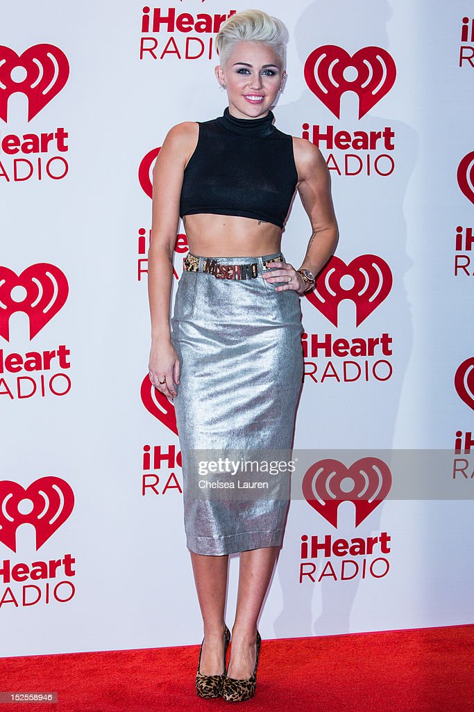 Singer <a gi-track='captionPersonalityLinkClicked' href=/galleries/search?phrase=Miley+Cyrus&family=editorial&specificpeople=3973523 ng-click='$event.stopPropagation()'>Miley Cyrus</a> arrives at iHeartRadio Music Festival press room at MGM Grand Garden Arena on September 21, 2012 in Las Vegas, Nevada.