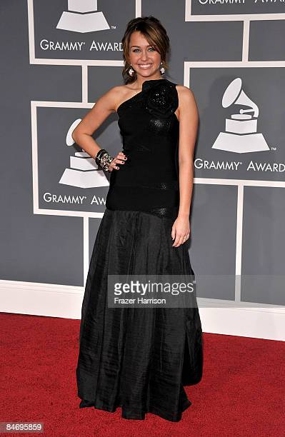 Singer Miley Cyrus arrives at the 51st Annual Grammy Awards held at the Staples Center on February 8 2009 in Los Angeles California