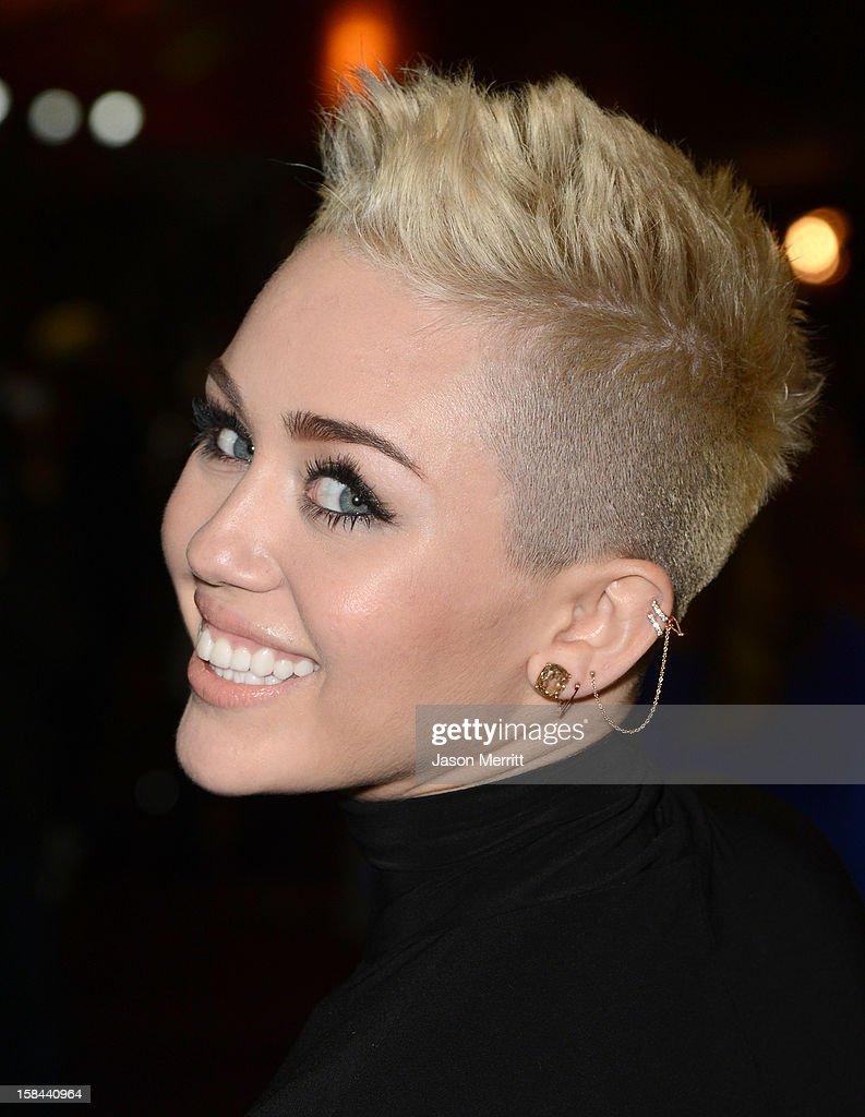 Singer Miley Cyrus arrives at 'VH1 Divas' 2012 held at The Shrine Auditorium on December 16, 2012 in Los Angeles, California.