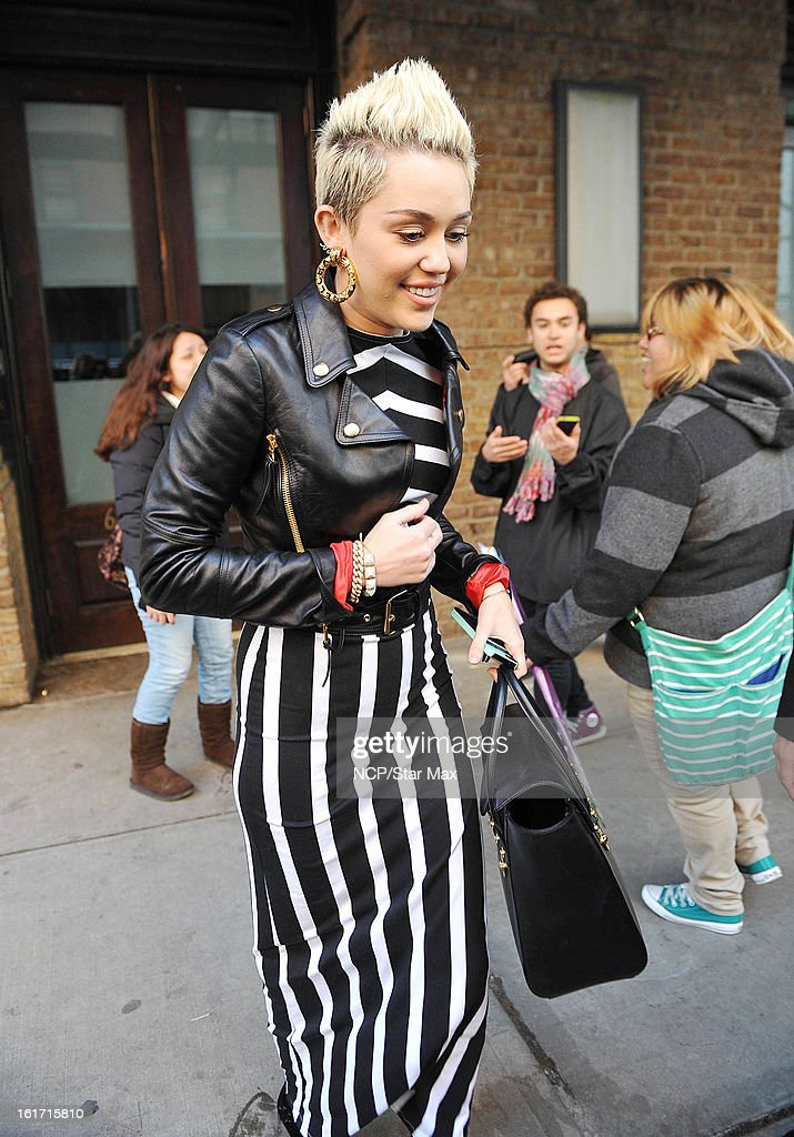 Singer <a gi-track='captionPersonalityLinkClicked' href=/galleries/search?phrase=Miley+Cyrus&family=editorial&specificpeople=3973523 ng-click='$event.stopPropagation()'>Miley Cyrus</a> as seen on February 14, 2013 in New York City.