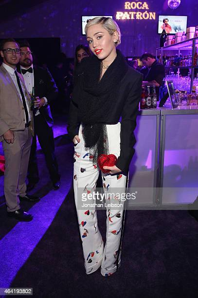 Singer Miley Cyrus attends ROCA PATRON TEQUILA at the 23rd Annual Elton John AIDS Foundation Academy Awards Viewing Party on February 22 2015 in Los...