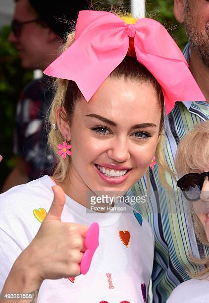 Singer Miley Cyrus attends the 13th Annual LA County Walk To Defeat ALS at Exposition Park on October 18 2015 in Los Angeles California