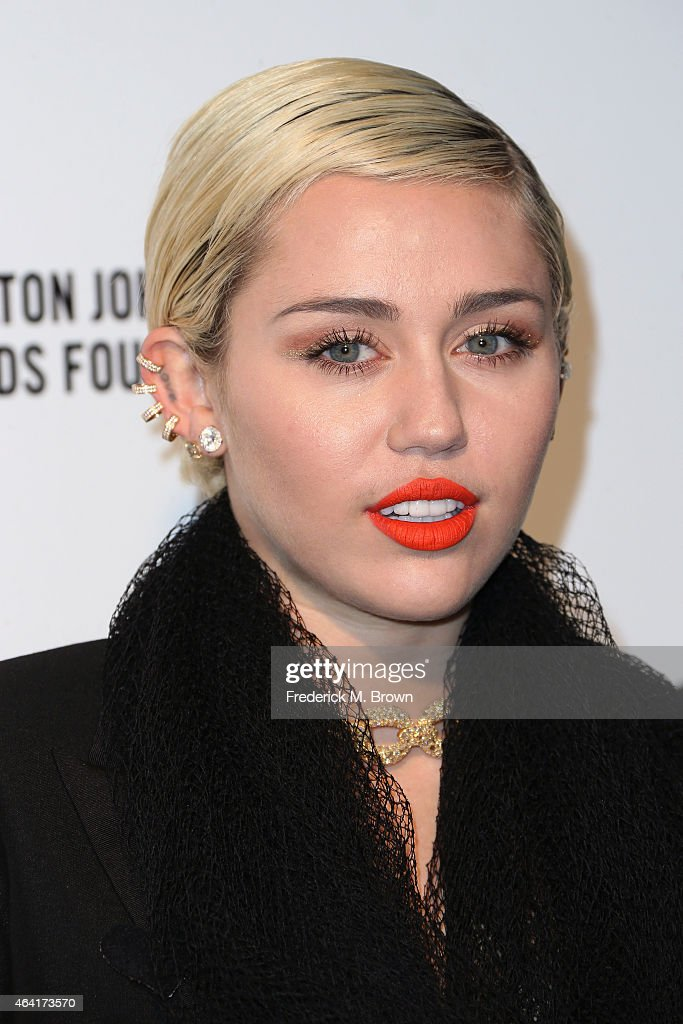 Singer Miley Cyrus attends the 23rd Annual Elton John AIDS Foundation's Oscar Viewing Party on February 22 2015 in West Hollywood California