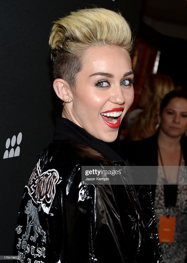 Singer Miley Cyrus attends the new Myspace launch event at the El Rey Theatre on June 12, 2013 in Los Angeles, California