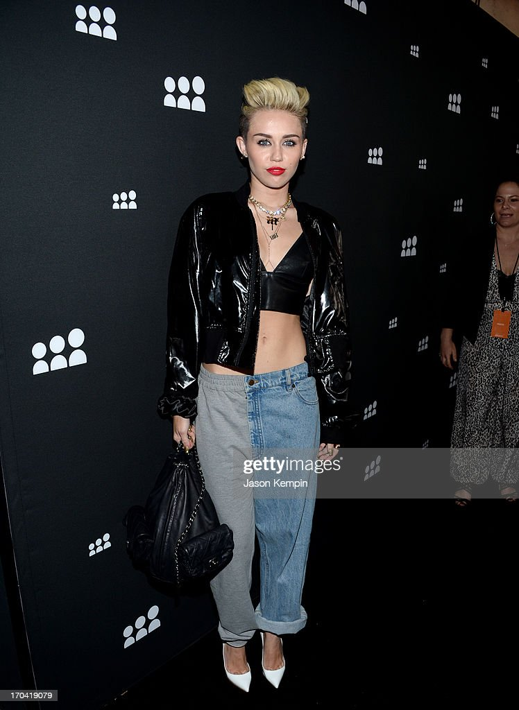 Singer <a gi-track='captionPersonalityLinkClicked' href=/galleries/search?phrase=Miley+Cyrus&family=editorial&specificpeople=3973523 ng-click='$event.stopPropagation()'>Miley Cyrus</a> attends the new Myspace launch event at the El Rey Theatre on June 12, 2013 in Los Angeles, California