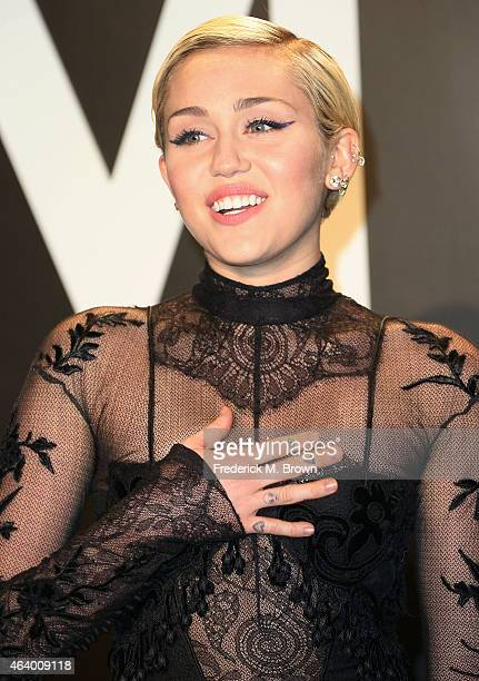 Singer Miley Cyrus attends Tom Ford Autumn/Winter 2015 Womenswear Collection Presentation at Milk Studios on February 20 2015 in Hollywood California