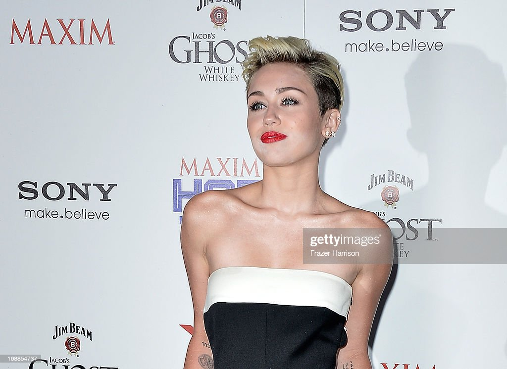 Singer <a gi-track='captionPersonalityLinkClicked' href=/galleries/search?phrase=Miley+Cyrus&family=editorial&specificpeople=3973523 ng-click='$event.stopPropagation()'>Miley Cyrus</a>, HOT 100#1 girl attends the Maxim Hot 100 Party at Create on May 15, 2013 in Hollywood, California.