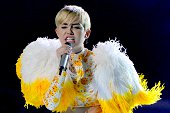 US singer Miley Cyrus performance during her Bangerz tour at the Arena Monterrey in Monterrey Nuevo Leon State Mexico on September 16 2014 AFP PHOTO...