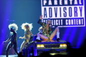 Singer Miley Cyrus performs during her Bangerz tour at the MGM Grand Garden Arena on March 1 2014 in Las Vegas Nevada