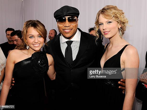 Singer Miley Cyrus rapper/actor LL Cool J and singer Taylor Swift arrive at the 51st Annual Grammy Awards held at the Staples Center on February 8...