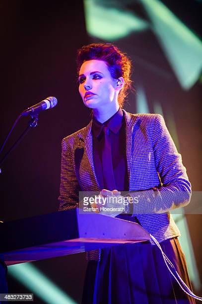 Singer Mina Spiler of Slovenian group Laibach performs live during a concert at Volksbuehne on April 7 2014 in Berlin Germany