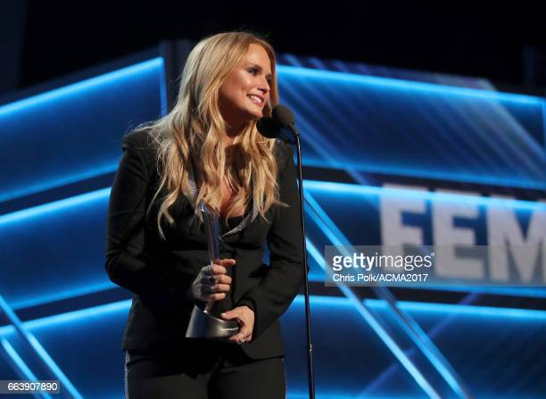 Singer Miranda Lambert accepts the award for Female Vocalist of the Year onstage during the 52nd Academy of Country Music Awards at TMobile Arena on...