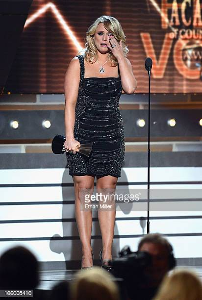Singer Miranda Lambert accepts the Female Vocalist of the Year award onstage during the 48th Annual Academy of Country Music Awards at the MGM Grand...