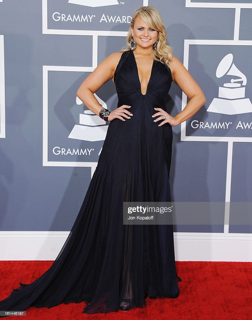 Singer <a gi-track='captionPersonalityLinkClicked' href=/galleries/search?phrase=Miranda+Lambert&family=editorial&specificpeople=571972 ng-click='$event.stopPropagation()'>Miranda Lambert</a> arrives at The 55th Annual GRAMMY Awards at Staples Center on February 10, 2013 in Los Angeles, California.