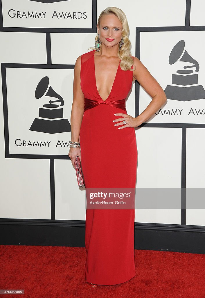 Singer <a gi-track='captionPersonalityLinkClicked' href=/galleries/search?phrase=Miranda+Lambert&family=editorial&specificpeople=571972 ng-click='$event.stopPropagation()'>Miranda Lambert</a> arrives at the 56th GRAMMY Awards at Staples Center on January 26, 2014 in Los Angeles, California.