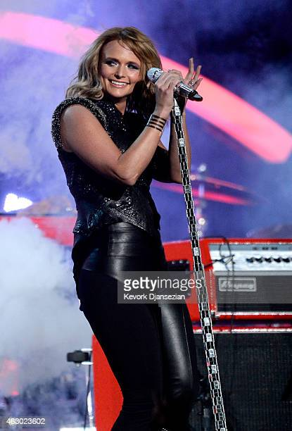 Singer Miranda Lambert performs 'Little Red Wagon' onstage during The 57th Annual GRAMMY Awards at the at the STAPLES Center on February 8 2015 in...