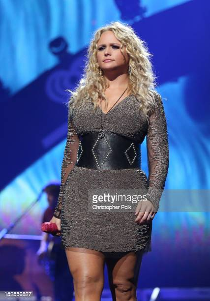 Singer Miranda Lambert performs onstage during the 2012 iHeartRadio Music Festival at the MGM Grand Garden Arena on September 21 2012 in Las Vegas...