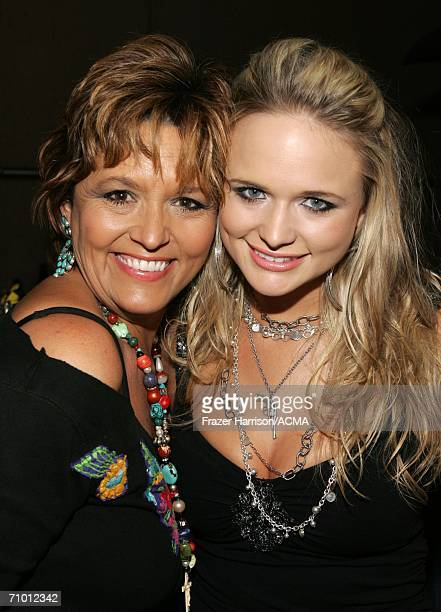 PRICING*** Singer Miranda Lambert poses with her mother Beverly Lambert backstage during the Academy Of Country Music New Artists' Show held at the...