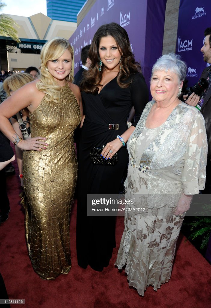 Singer <a gi-track='captionPersonalityLinkClicked' href=/galleries/search?phrase=Miranda+Lambert&family=editorial&specificpeople=571972 ng-click='$event.stopPropagation()'>Miranda Lambert</a>, singer Hillary Scott of the band Lady Antebellum and guest arrive at the 47th Annual Academy Of Country Music Awards held at the MGM Grand Garden Arena on April 1, 2012 in Las Vegas, Nevada.
