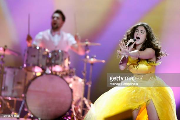 Singer Miruna Manescu of the band Timebelle representing Switzerland performs the song 'Apollo' during the second semi final of the 62nd Eurovision...