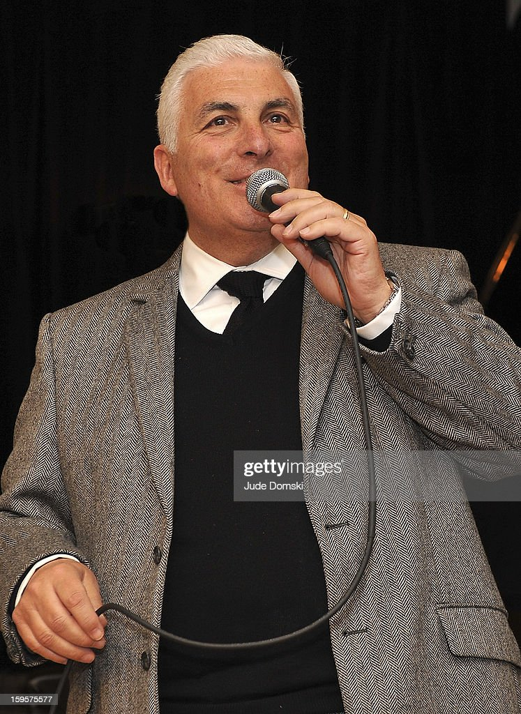 Singer Mitch Winehouse, father of the late singer Amy Winehouse, performing at the Amy Winehouse Foundation grant presentation at the Brooklyn Conservatory of Music on January 16, 2013 in the Brooklyn borough of New York City.