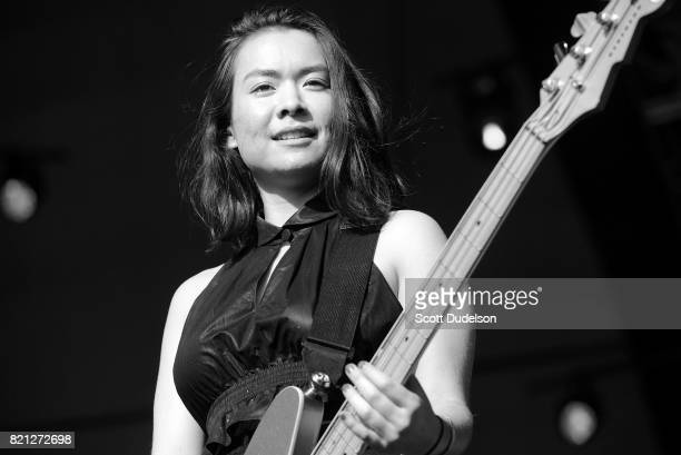 Singer Mitski performs onstage with Egypt 80 during FYF Fest on July 22 2017 in Los Angeles California